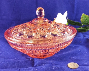 Vintage Pink Glass Covered Candy Dish