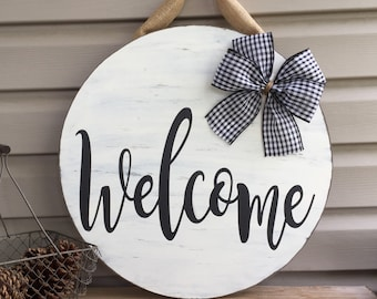 Welcome Door Hanger, Front Door, Rustic, Farmhouse, Hello Wood sign, Welcome sign, Housewarming Gift, Porch sign, Hello