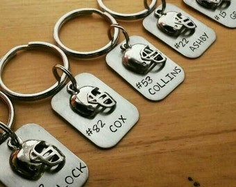 Hand Stamped Personalized Football Keychain  - Football Team Gift - Football Mom Gift  - Personalized Keychain