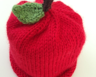 Red Apple Baby Hat (Size: 3-6 months)