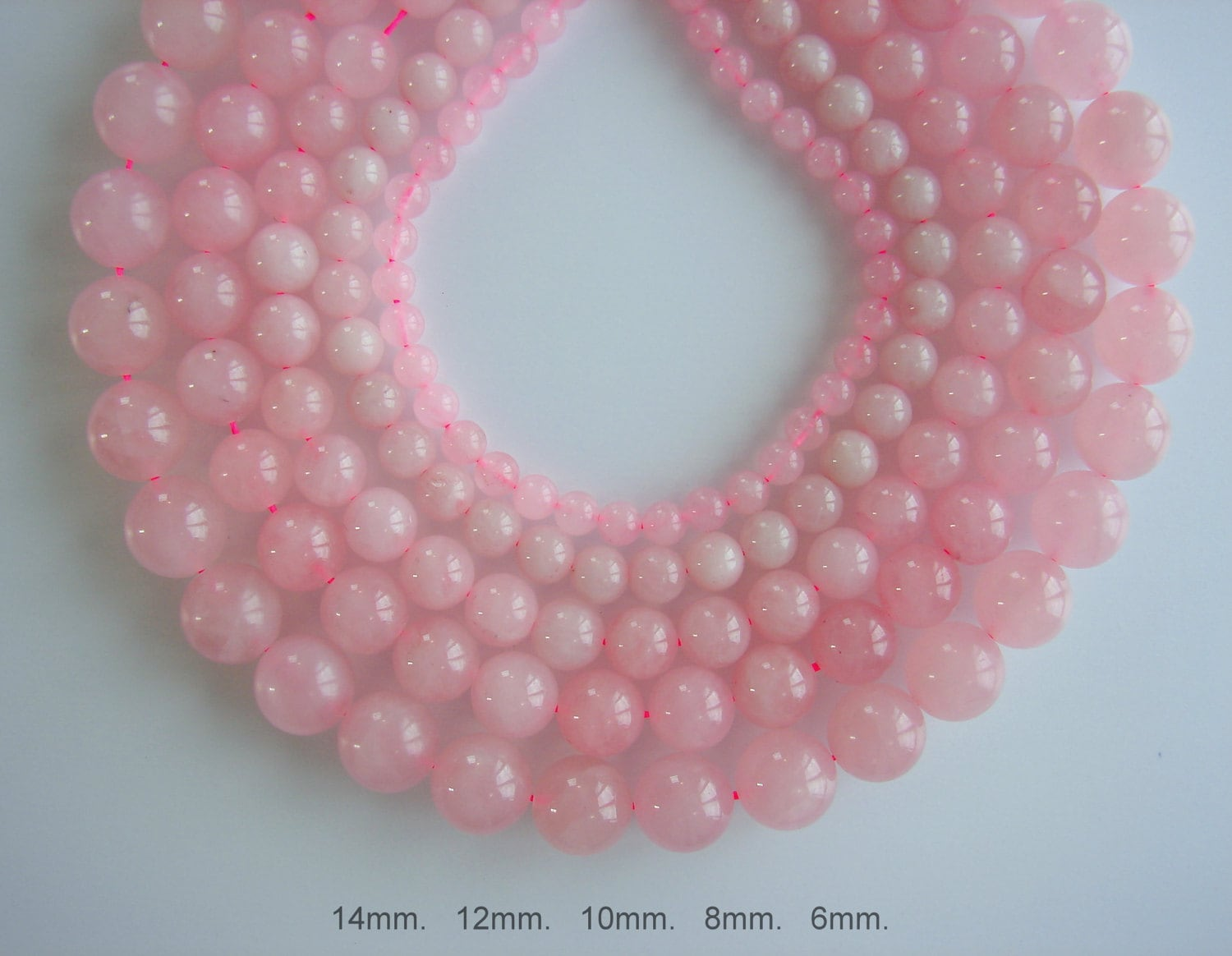 SALE. Natural Rose Pink Quartz Beads Round 6 8 10 12