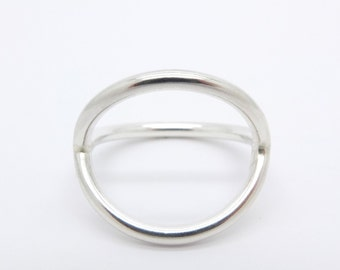 sterling silver double ring, oval silver ring, silver pleated ring, elegant ring