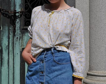 1960's Yellow rose cotton top