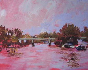 Chiswick River Bend Acrylic on Canvas Painting