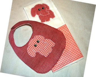 Baby Girl Elephant Applique Burp Cloth and Bib Set READY TO SHIP