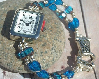 Silver Watch, Blue Window and Faceted Beads Jewelry W026