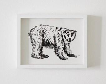 Polar bear Print, art print children's room, woodcut original polar bear, animal poster, illustration bear, wood print Bear, handprint, Bear poster
