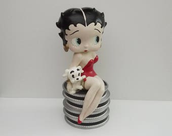 """Vintage Betty Boop Large Statue Display, Betty Boop in Red Dress Sitting with Pudgy Statue 25 """"1998's"""