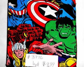 Fabric- 1 yard piece -Packed Marvel Superhero/Hulk/Thor/Ironman/Spiderman/Captain America/Comic Book Characters/Marvel Comics (#3776)