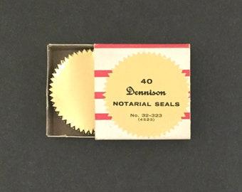 Vintage Dennison Notarial Seals 37 in Box Gold Foil Paper Ephemera Card Making Scrapbooking