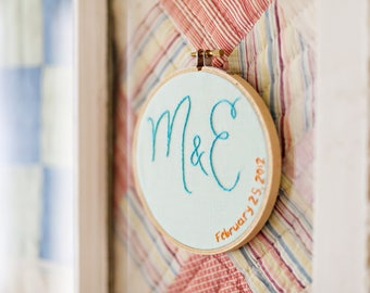 Embroidered Initial Art. Custom Family Sign. Initial Embroidered Hoop. Custom Wedding Gift. Engagement Gift for Couple. Bride Groom Initials
