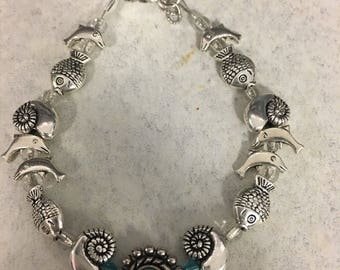 Bracelet silver plated with sea creatures