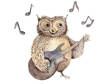 Owl Playing Guitar Animal Watercolor Original Painting 13