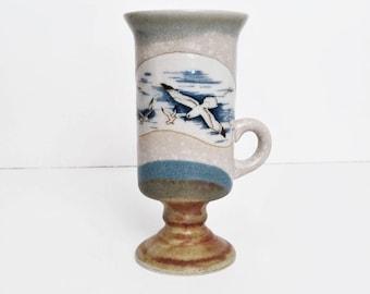 Otagiri Handcrafted Pedestal Coffee Mug with Seagulls