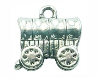 6 Silver Covered Wagon Charm Pendant 14x14mm by TIJC SP0892