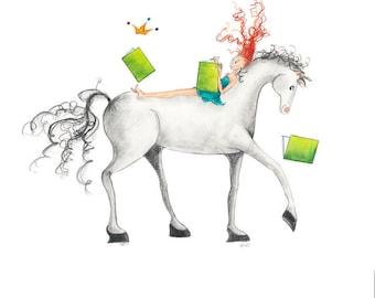 "Equestrian Art-LITTLE LADY GODIVA-8""x10"" Print-Redhead Girl-Teal-Tiara-White Horse-Reading-Books-WallArt Decor Poster-Library Classroom-Gift"