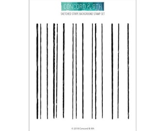 Concord & 9th -SKETCHED STRIPES BACKGROUND -Clear Stamp Set