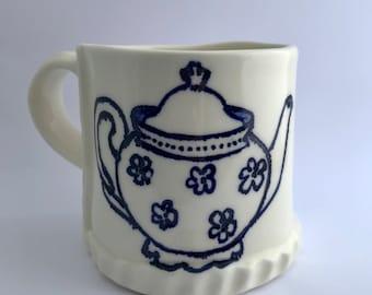 Teapot Mug. Vintage Teapot Mug. Vintage Teapot. Mug. Big Mug. Teapot. Large Mug. Coffee Mug. Coffee lover. Tea lover. Teapot love. Handmade