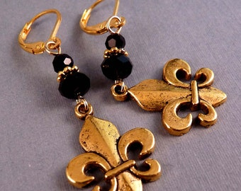 Fleur de Lis Earrings Gold Earrings Gold Jewelry Jewelry Metal Jewelry Beaded Earrings New Orleans Saints Beaded Jewelry