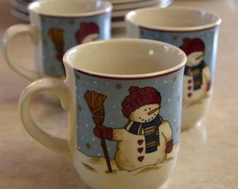 Snowmen Serenade II, MUG, Meiwa Table Art, 1997, Snowman with BROOM, Holiday Christmas Winter Dishes