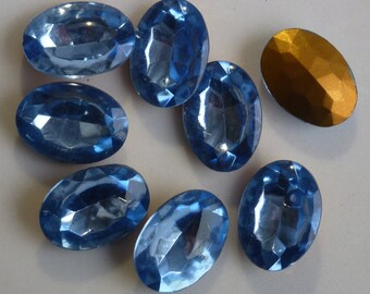 Vintage Glass Rhinestones, Oval 25x18mm, Ice Blue, Faceted Cut Top, Foil Point Back, West Germany, 12 pieces D1-2