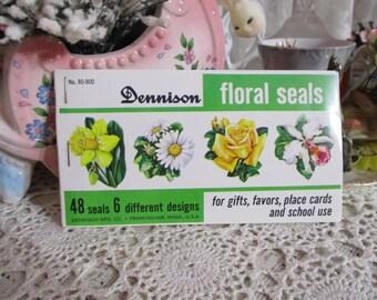 Vintage Dennison Seals-Flowers-Old Stock-Spring-Easter-Unused Package