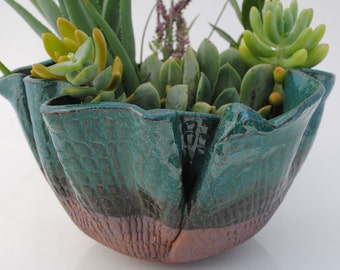 ceramic planter pot, garden plant bowl, window garden, clay planter