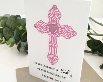 Goddaughter Card, Christening Gift for Goddaughter, Baptism Gift from Godparents, Goddaughter Gift, Godchild Gift, Baptism Card, Pink Cross