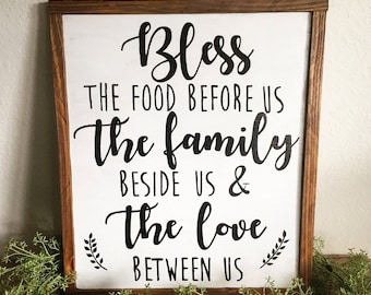 Bless the food before us sign| bless the food before us| kitchen sign| farmhouse sign| rustic kitchen sign| farmhouse kitchen sign|