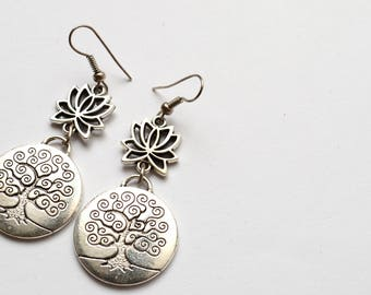 Tree of Life Pendant with Lotus / Earrings for Women and Girls