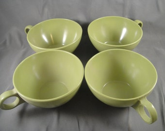 Melamine Avocado Green Melmac Cups Set of Four