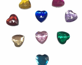 Colored Clear Heart Mini Tiny Flatback Resin Rhinestones Cabochon - 100pc   Nail Art 10MM - CC040618
