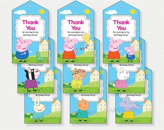 Peppa Pig Thank You/Favor Tags - Pink- 9 Designs - INSTANT DOWNLOAD - DIY Printable
