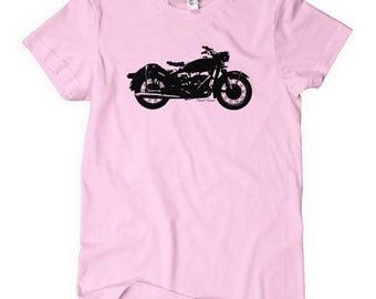 Women's Vintage Motorcycle T-shirt - S M L XL 2x - Ladies' Moto Tee - 4 Colors