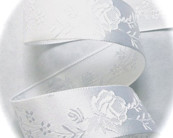 "Satin Ribbon  1"" wide  x 5 yards white Floral"