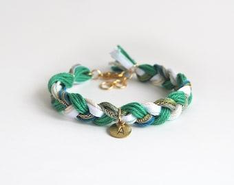 Initial bracelet, emerald green bracelet with initial charm, green friendship bracelet, green braid bracelet