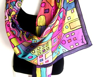 Silk Scarf, Hand Painted Silk Scarf, Black Multicolor, Abstract Design, Hundertwasser Art Inspired, Gift For Her CUSTOM ORDER
