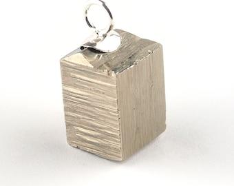 Pyrite pendant, Pyrite cube pendant, Gemstone pendant, Cubic pyrite pendant, Silver pendant, Raw pyrite pendant, Rough pyrite pendant