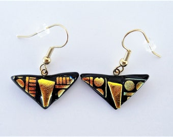 Dichroic Glass Gold and Bronze Triangle Earrings Etched and Patterns in Bronze and Gold on Black Dichroic Fused Glass Wire Earrings