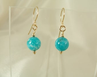 Amazonite 14k gold filled earrings MLMR gemstone handmade item 917