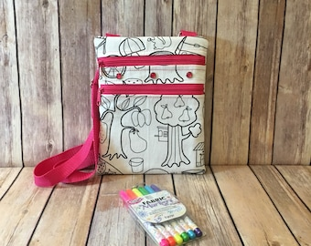 Color Me Bag - Messenger Bag - Coloring Bag - Kids Messenger Bag - Kids Sling Bag - Color Your Own Bag - Mini Messenger Bag - Color a Bag