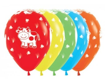 Farm Animal Balloons, Animal Balloons, Farm Party, Barn Party, cow, pig, sheep, chicken, packet of 12 balloons, size 30cm.
