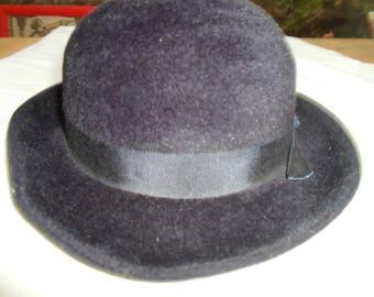 Navy velour hat