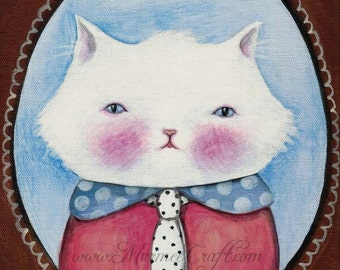 "SALE MarmeeCraft cat art print, ""Miss Kitty Cabinet Portrait"" SALE"