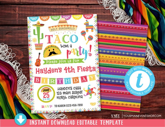 Fiesta Invitation, Fiesta Birthday Party Invitation, Mexican Fiesta Birthday Party Invitation, Taco Bout a Party Invitation, taco twosday