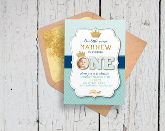 Prince and princess invitation green purple printable kids little prince first birthday invitation printable photo first birthday invitation blue gold filmwisefo Choice Image