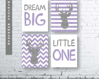 Purple Dream Big Little One Deer Prints-Set of Four (4)-Instant Download-Baby.Decor.Nursery.Girl Dream Big Little One Nursery. Lavender Deer
