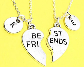 Sale, Set of 2 Best Friends set, Customized,Best friend Necklace,Pink Necklace,Pink Jewelry, Twin Necklaces, Bff Friendship Jewelry, Gift Fo