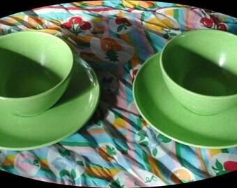 Vintage Melmac Branchell Colorflyte Coffee Dinnerware Set, Bright Green 1950s Retro Dinnerware