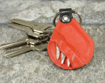 Monster Leather Key Ring Fob Hand Made With Face Eye Key Purse Charm